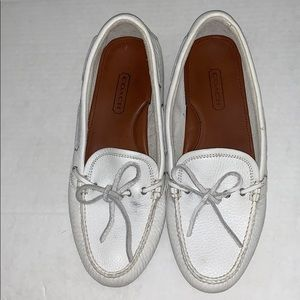 Coach Leather White Moccasins size 10